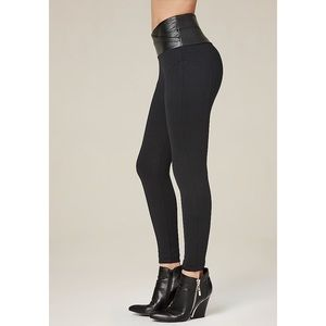 Bebe high waist legging pants with leather top